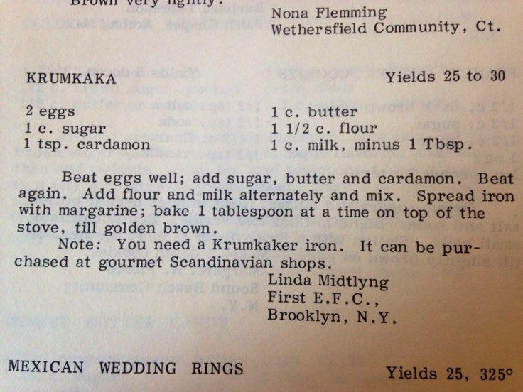 krumkake Recipe from Camp Spofford cookbook (1981) by Linda Midtlyng