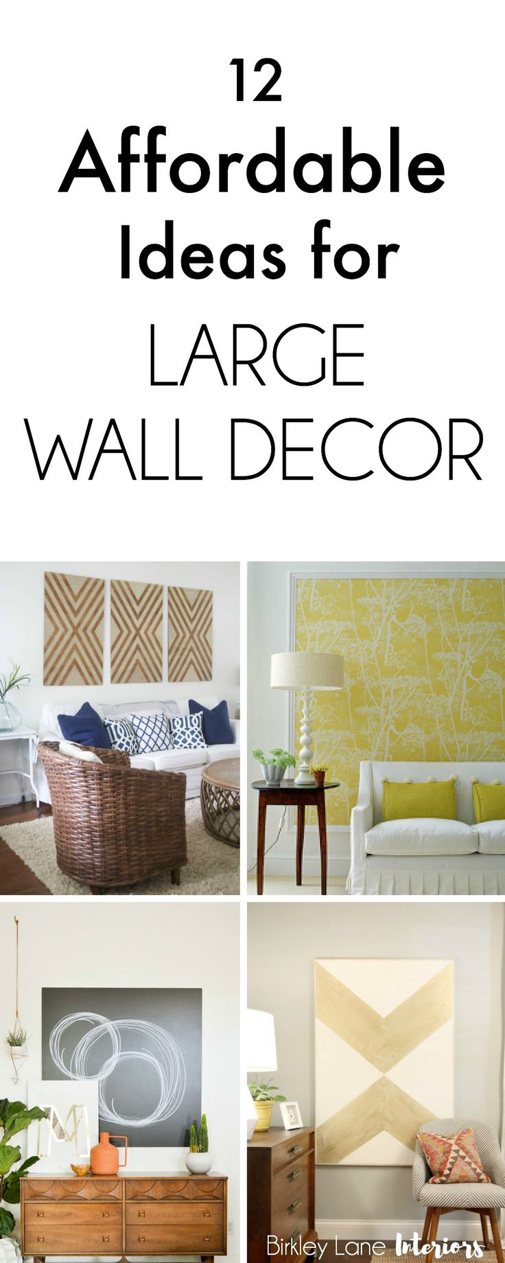 Do you have a big, blank wall you don't know how to decorate? Click here for 12 affordable ideas for large wall decor! You're house will thank you! Large wall decor, large wall art, large family photos, big blank wall ideas, big blank wall living room, how to decorate large walls, large blank wall decor, affordable large wall art