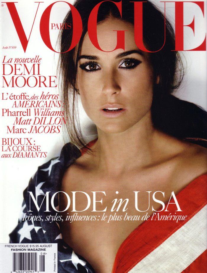 La opertina di Vouge con Demi Moore: un semplice scatto su fondo bianco per una copertina senza tempo. Una foto eccezionale per fotomontaggi eccezionali.