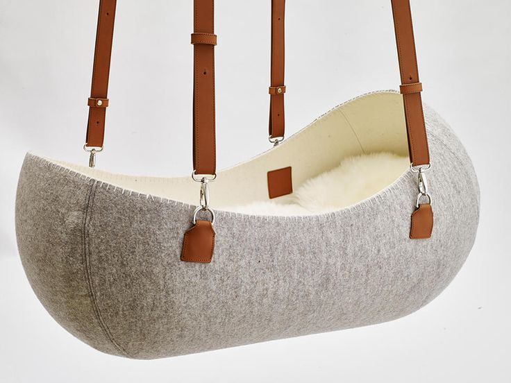A Hanging Felt Cradle Inspired by the Womb... But at 2am would you end up hanging yourself trying to place the baby?