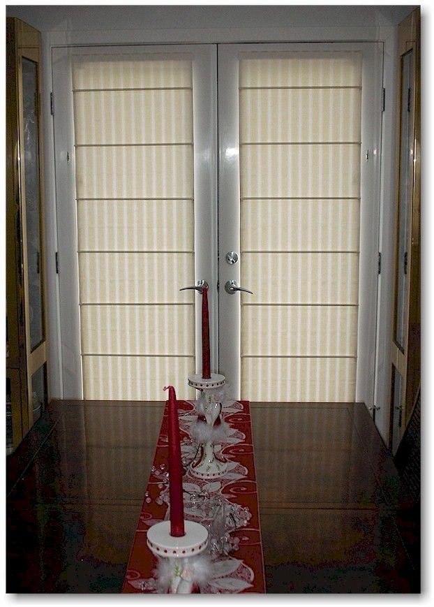 Dowelled Roman Shades On French Doors