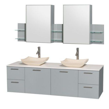 Wyndham Collection Amare 72 inch Double Bathroom Vanity in Dove Gray, White Man-Made Stone Countertop, Avalon Ivory Marble Sinks, and Medicine Cabinet