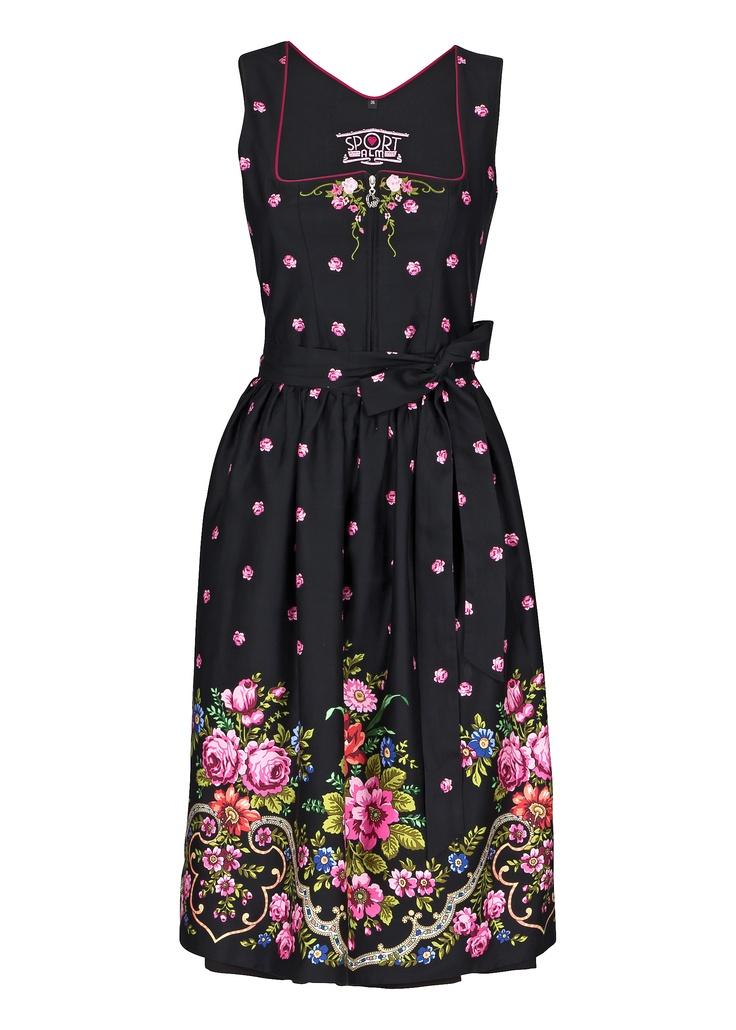 Utterly and completely beautiful! #floral #flowers #pink #black #dirndl #dress #folk #costume #German #Austrian