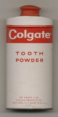 Vintage Colgate Tooth Powder 4 ounce can tin.  Agh!!  Hated tooth powder but my Mom bought it & had to use!