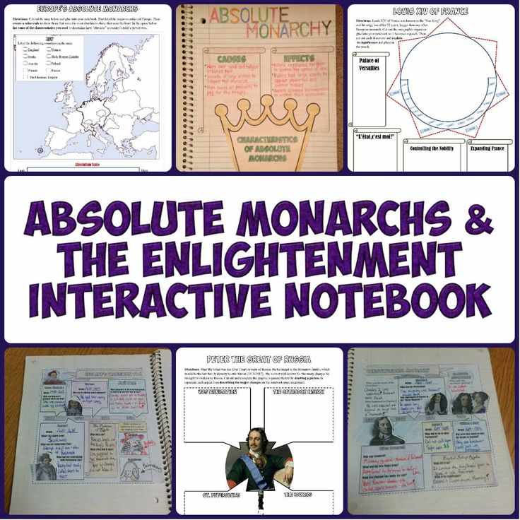 Absolute Monarchs and Enlightenment Interactive Notebook for World History lessons!