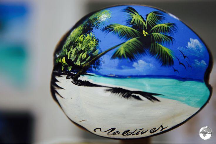 Painted coconut souvenir from the art studio of Ibrahim Shinaz of Maafushi Island.