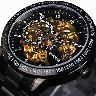 WINNER® Men's Skeleton Watch Wrist watch Mechanical Watch Automatic self-winding Water Proof Hollow Engraving Tachymeter Wrist Watch
