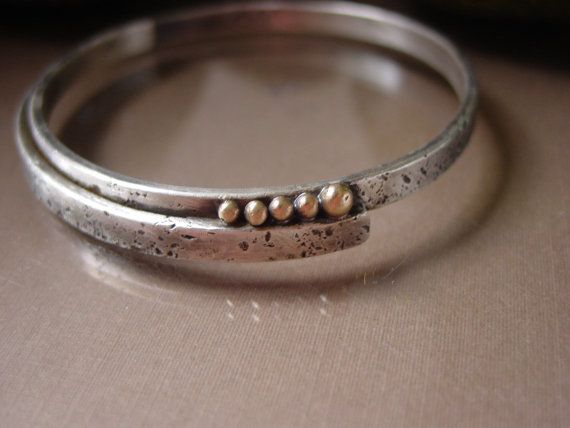 Texturized Sterling Silver Bangle Bracelet with 14kt gold accents - Lunar Collection