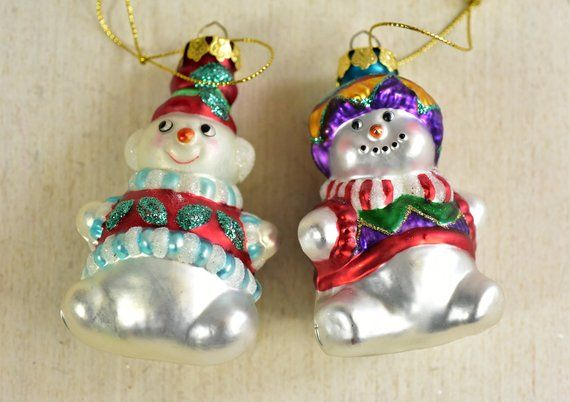 Vintage Snowman Glass Christmas Ornament Vintage Snowman Two Snowmans Set Of 2 Blown Glass Tree Ornament Made In Poland How To Make Ornaments Christmas Ornaments Glass Christmas Ornaments
