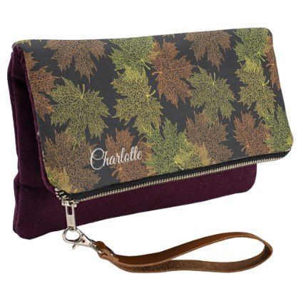 Elegant Gold Green Autumn Leaves Stylish Custom Clutch - girly gifts girls gift ideas unique special