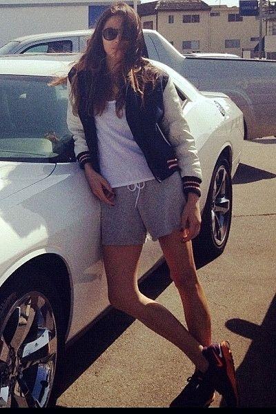 """""""Cruising — Rag and Bone varsity jacket. Bassike t-shirt and shorts. Nike trainers. Sunday somewhere sunglasses."""""""