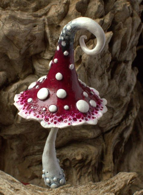 Red white black magic polymer clay toadstool Home by Petradi
