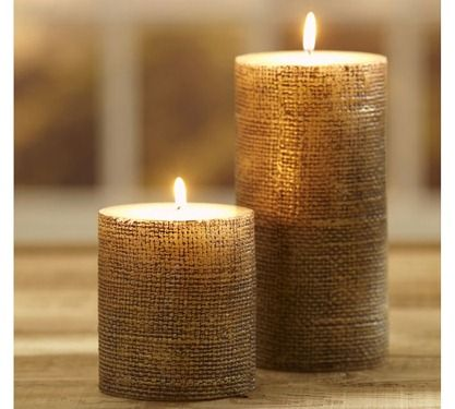 DIY Pillar Candles Wrapped In Burlap...Gorgeous & Rustic
