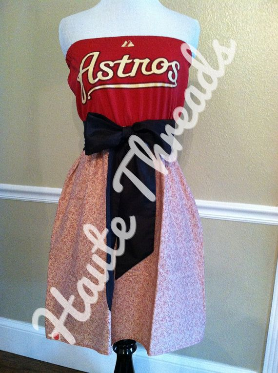 Houston Astros MLB Baseball Gameday Tube Vintage Floral Strapless Dress with Black Sash Bow - Medium