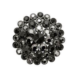 大小3種の大粒スワロフスキークリスタルを使用したエレガントバックル。深みのあるブラッククリスタルをドーム状に配置したデザインで、余分な存在感を抑えたバックルです。