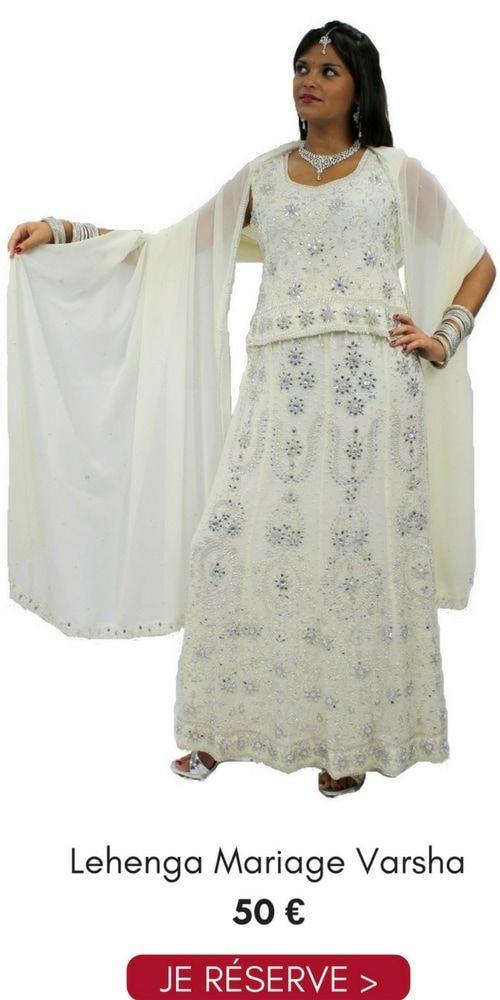 Location Lehenga Choli Mariage Varsha Blanc Argenté Pas Cher 50€ Taille 38/40 Narkis Fashion, contactez au 06 61 05 36 39