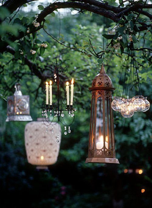 love the variety.: Lights, Candle, Lighting, Tree, Wedding Ideas, Outdoor, Gardens, Lanterns