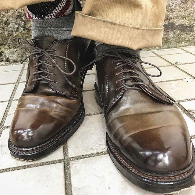 2017/02/08 18:08:40 task.k ALDEN . ciger cordoban plaintoe shoe of the day . . 散髪に行くつもりが昼過ぎまで寝てしまいました。 せっかくの晴れの日なのでコードバン🙃 手入れしておらずイマイチな光り方ですが。 . アメリカ古着60sのチノにオールデン。靴下はイギリスというミス。 . . #ALDEN #オールデン #cordoban #コードバン #93911 ? #todays #barrielast #mensshoes #shoeshine #vintage #antique #ciger #aldenarmy #cream  #neutral #shoeshiner #highshine #shoestagram #mensfashion  #mirror #holiday #shoes #usa #uk #horween #nofilter #散髪には行きました