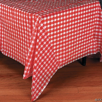 Plastic Red And White Checkered Tablecloth (261620)