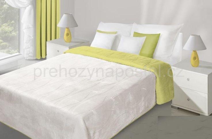 Bílo zelené přehozy na postel oboustranné prošívané