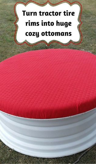 Turn tractor tire rims into huge cozy ottomans