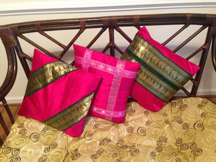 Silk Cushion Cover Set of three covers made with a single Indian Silk skirt making use of lovely border as an accent design.