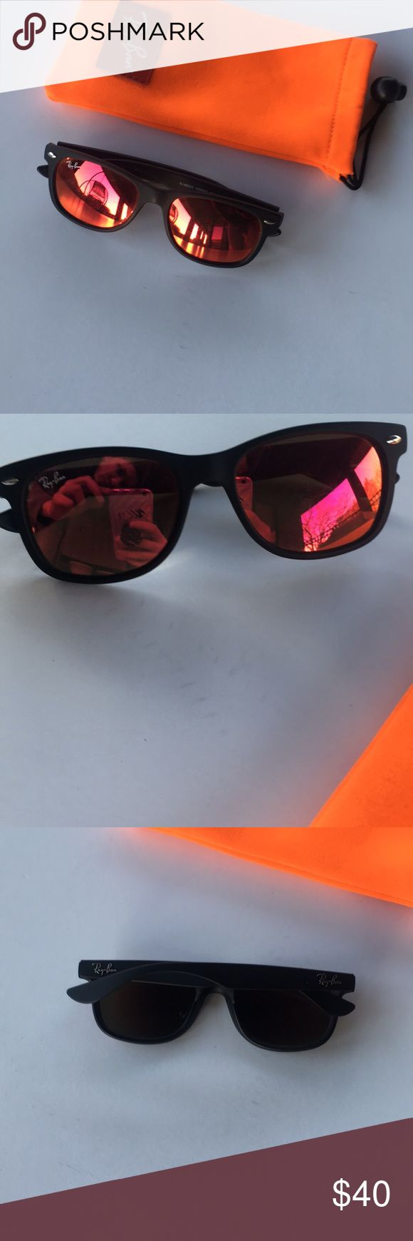 😎RAY-BAN red mirror wayfarer sunglasses Red mirror wayfarer sunglasses! Comes with soft neon orange glasses case! Has some barely noticeable scratches on front of lenses. Otherwise is great condition!! Make an offer or bundle to save!! 🤑 Ray-Ban Accessories Sunglasses