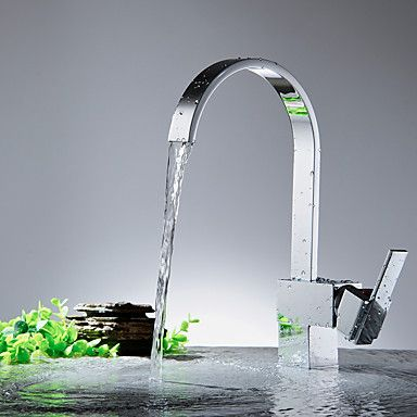 Köksblandare-Nutida-Vattenfall-Mässing(Nickel Polerad)