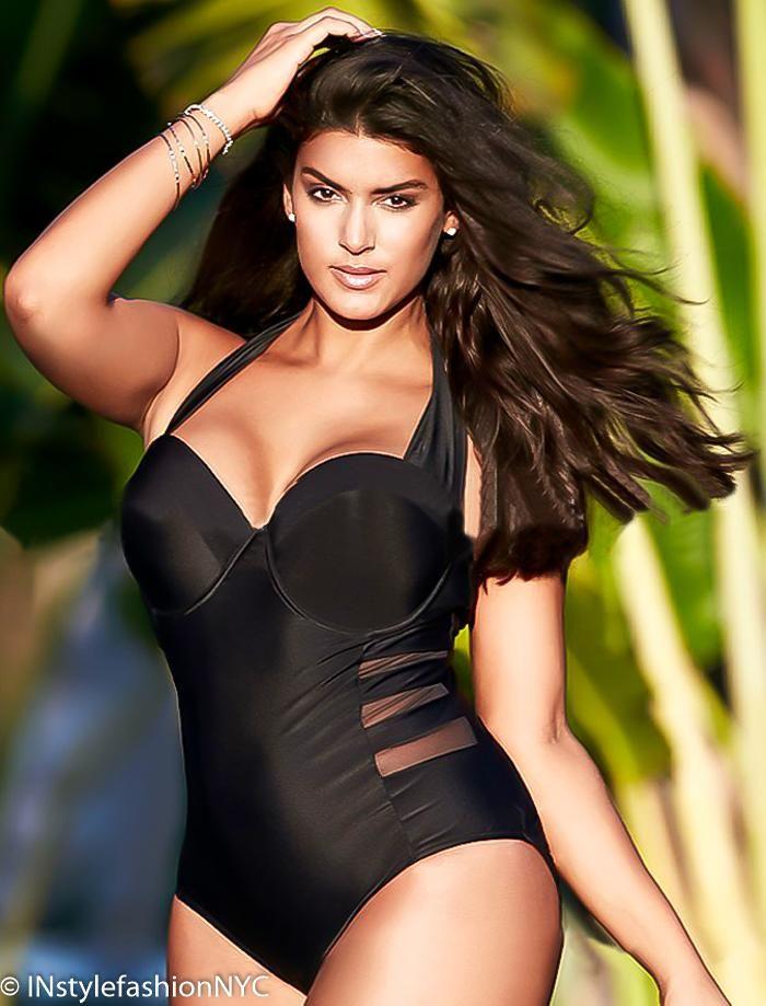 11e0731e826 Women s Black Mesh Insert Plus Size Swimwear