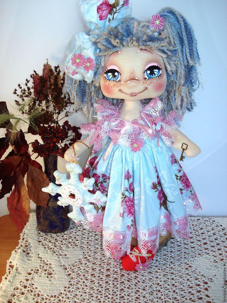 Купить Снежанка.Зимняя девочка.Текстильная интерьерная кукла. - голубой, интерьерная кукла, красивая кукла