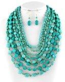 Betty Gold Tone Turquoise Stone Multi Row Necklace Set