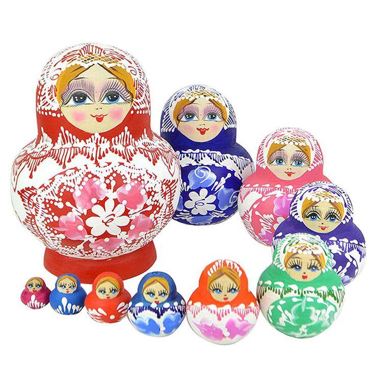10 pcs/set Colorful Matryoshka Russian Nesting Dolls Toy Wooden Babushka Painted | eBay