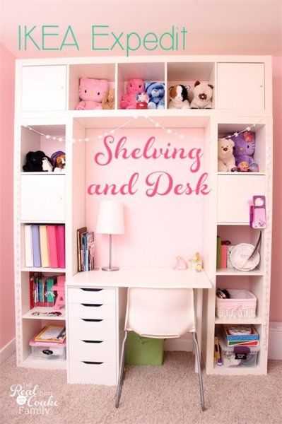 Genius shelving unit and desk using an IKEA Expedit