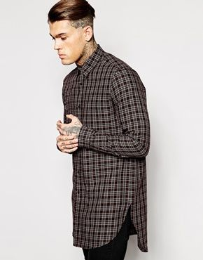 Enlarge ASOS Longline Shirt With Small Check