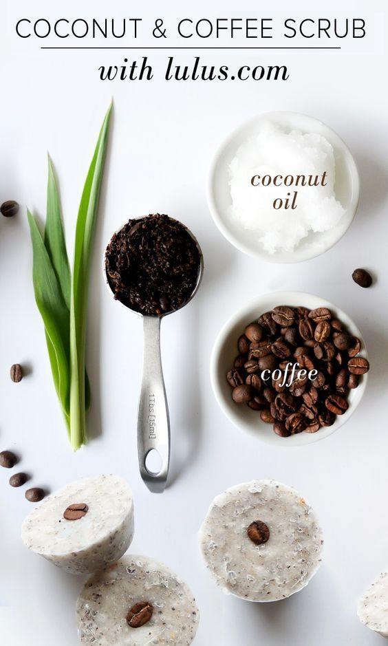 Coconut Coffee Scrub Cubes - Coffee is not only packed with antioxidants making it anti-aging and detoxifying, it is a natural astringent that (temporarily) makes your skin tighter and firmer.: