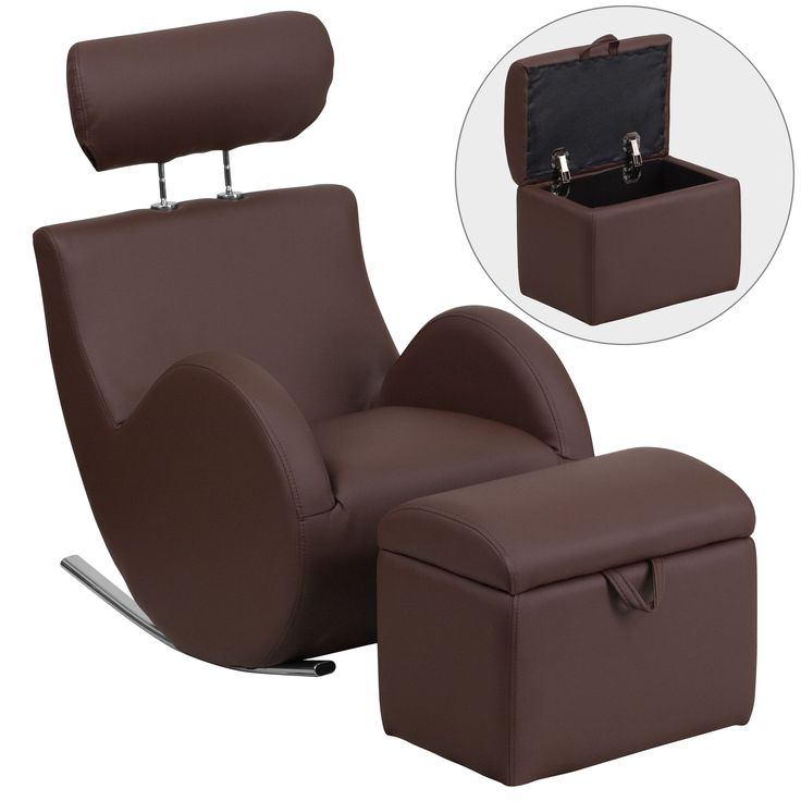 Flash Furniture Hercules Kids Rocking Chair and Storage Ottoman Set (Brown Vinyl) (Metal)