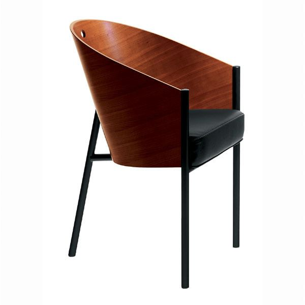 Driade, COSTES CHAIR , Philippe Starck, 1985. Chair with lack painted tubular steel frame. Bent plywood shell with in mahogany natural.Black leather fixed cushion with polyurethane foam padding. dimension: cm. W. 47,5 D. 58 H. 80; seat H. 47.