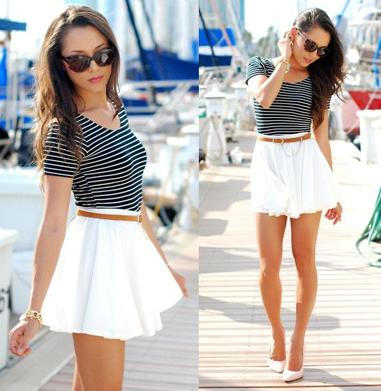 cuuuteSummeroutfit, Fashion, American Apparel, Summer Outfit, Crop Tops, Style, Clothing, Skater Skirts, Stripes