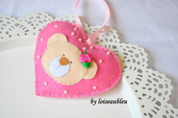 Hand stiched eco friendly felt pink / blue heart with teddy bear animal for hang on the wall or cot - personalized newborn baby room decor