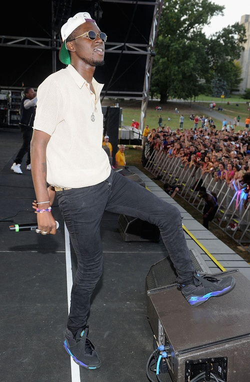 "Theophilus London in the Air Jordan 8 ""Aqua"""