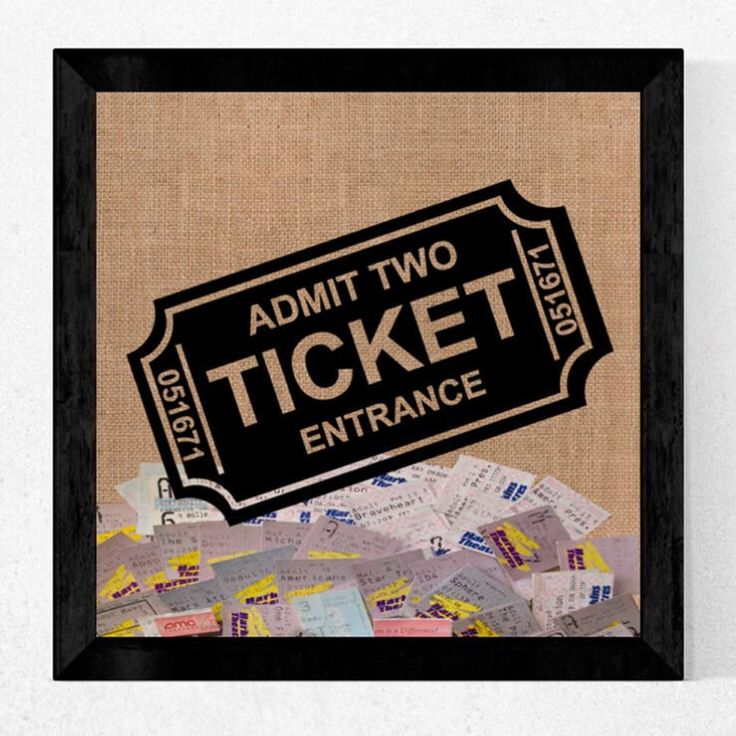 Couples Movie Ticket, Concert Ticket Keep Sake Shadow Box