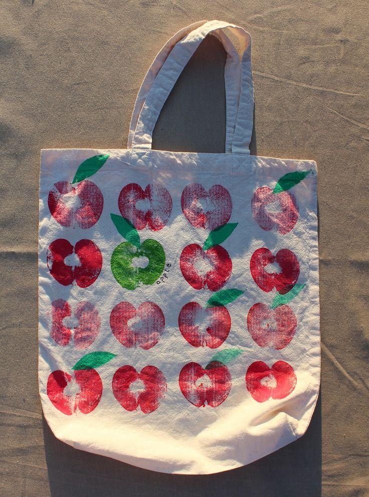 Mimismami: Apfeltaschen- Stofftaschen mit Obst bedrucken