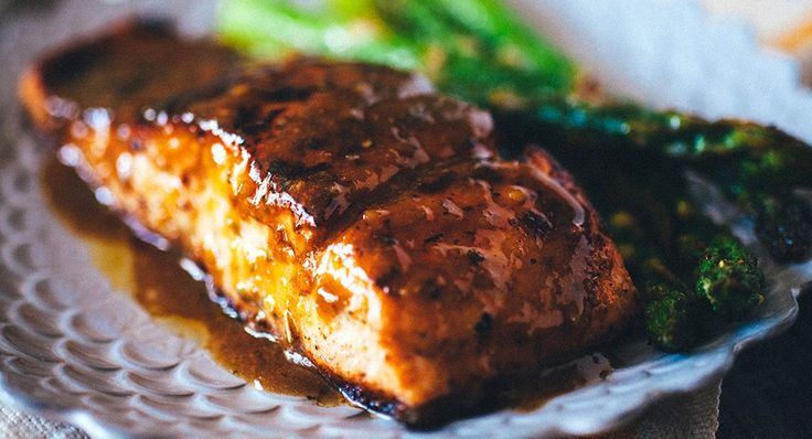 Grilled Salmon with Balsamic Butter Sauce