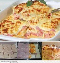 1 opakowanie chleba tostowego Śmietana 1 cebula 3 ząbki czosnku 1/2 kg sera mozzarella 1/2 kg szynki