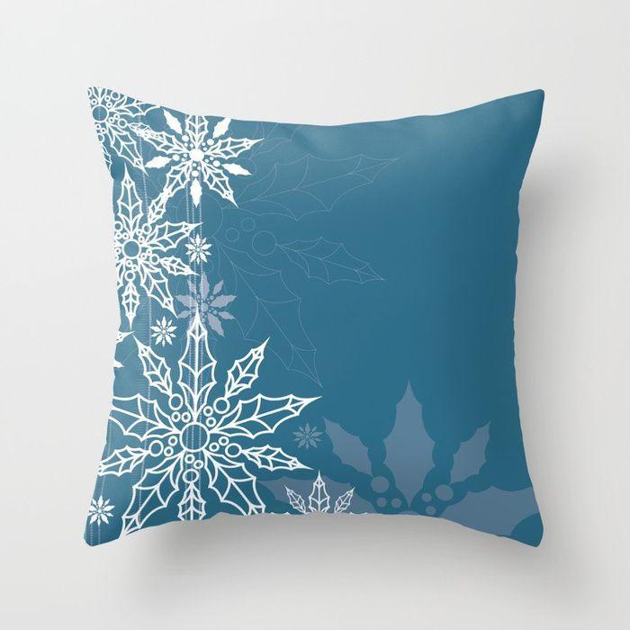 Holly tree snowflake Throw Pillow