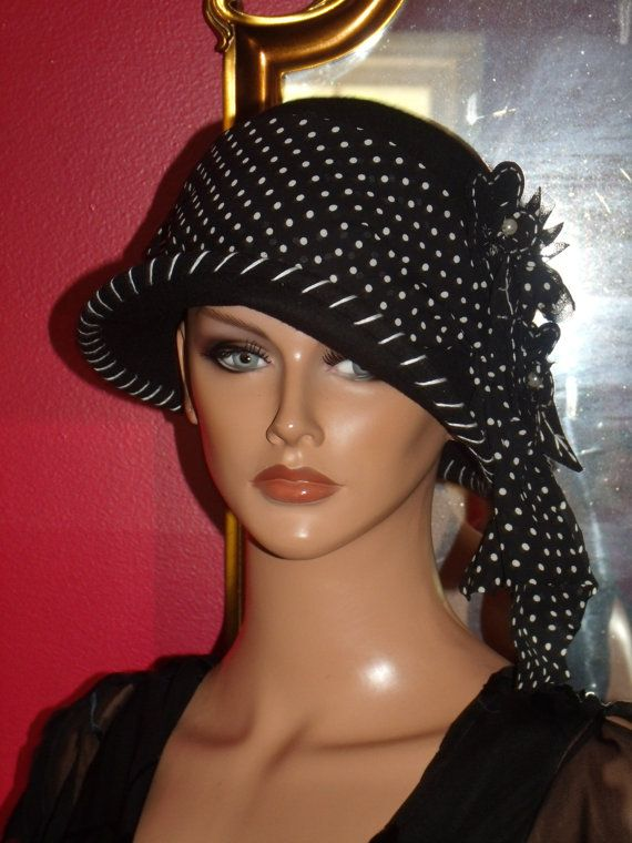 1920's Theme Flapper Hat Black Wool100% Gatsby Antique
