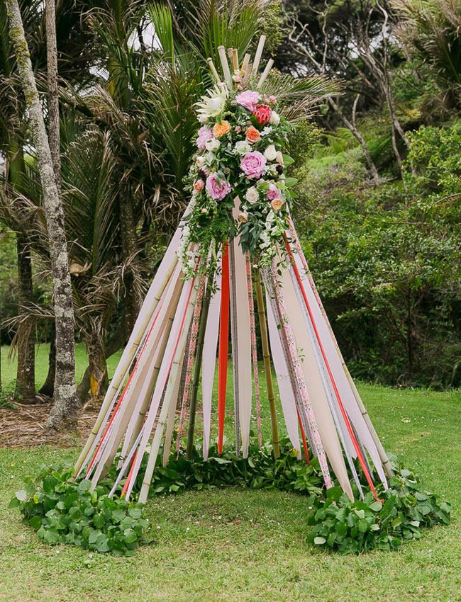 Ribbon + flower teepee