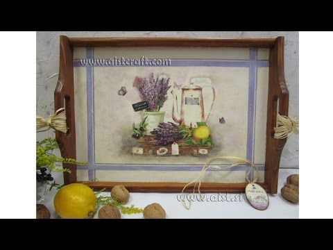 Decoupage tutorial for beginners - DIY. How to decorate a tray. Napkin technique. - YouTube