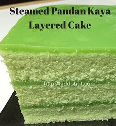 Steamed Pandan Kaya Layered Cake for breakfast or tea? Smooth pandan kaya on top of soft and fluffy pandan cake. Here is the recipe.