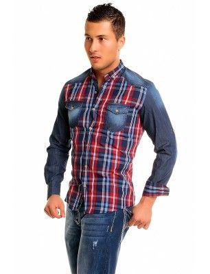 Camisa Carisma cuadros denim 8129 red